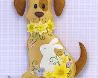 Dog Stuffed Animal Pattern - Felt Plushie Sewing Pattern & Tutorial - Daffodil the Easter Dog - Embroidery Pattern PDF