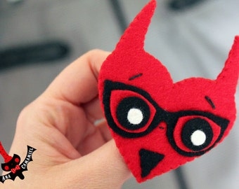 Demon heart felt brooch