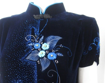 Blue Velvet Silk Maxi Cheongsam Satin Ribbon Embroidery Floral Design Sparkles Glitter Pearl Beads Royal Blue