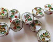 Cloisonne Beads - White Coin - Floral Cloisonne - Spacer Flat Round Beads - Enamel Vintage - Asian Oriental - Jewelry Making - 11mm - 9 Pcs