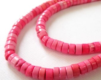 "Pink Heishi Beads - Disc Round - Column Heishi Disk - Center Drilled Howlite Gemstone - 16"" Strand  Pink October - DIY Jewelry Beading"