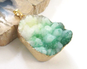 Green White Druzy Geode Pendant - Bio Color Druzy Electroplated - Multi-colored Crystal Agate - Semi Precious - Rough Surface - DIY Craft