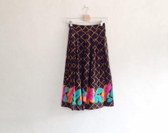 Vintage 1980s Orange and Black Neon Floral High Waisted Midi Skirt