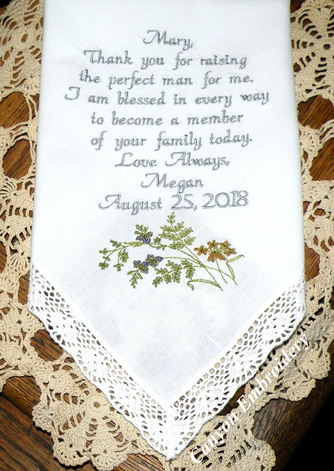 Wildflowers wedding gift embroidered