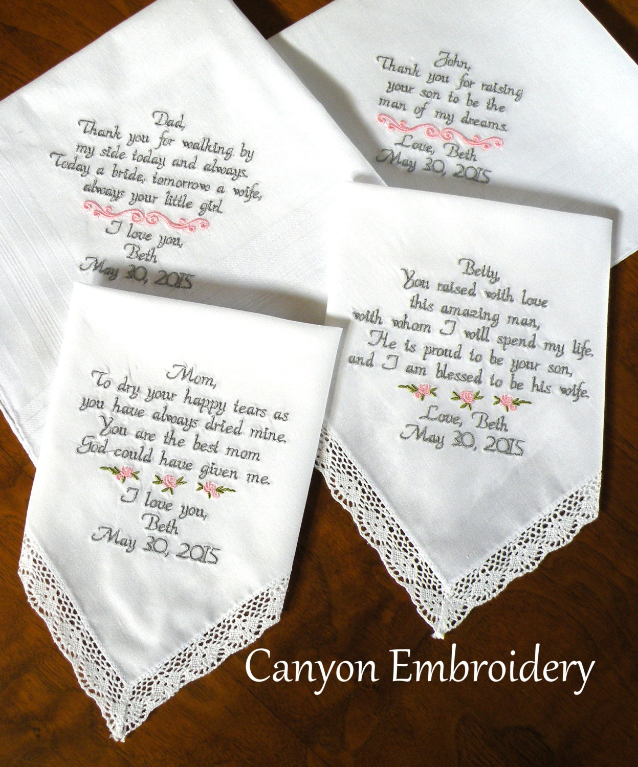 Embroidered Wedding Handkerchiefs Parents Of The Bride