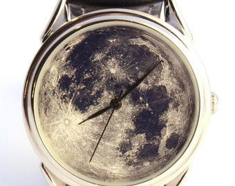 Watch Moon photo, unisex watch, women watch, men wrist watch
