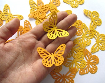 Paper butterflies 50 die cut butterflies, die cuts, wedding decorations, scrapbooking, weddings, yellow butterflies orange butterfly