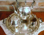 HOLD FOR ROSE -Vintage Silver Plate Tea set Centerpiece /Silver Tea Set Four Piece Silver on Copper Tea Set - Sheridan with tray