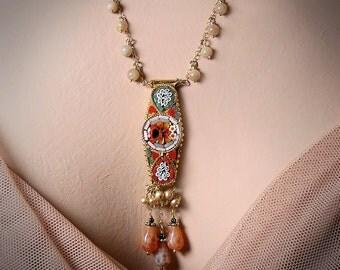 Mosaic Garden Necklace, Romantic Red Orange Teal Vintage Italian Micromosaic Gemstone Pendant Necklace, Festival Jewelry, Bohemian Wedding