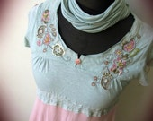 RESERVED Mint Green and Dusty Pink Embroidered Tshirt Tunic, Tattered Mori Girl Short Dress, Upcycled Recycled Clothing, Shredded Day Dress