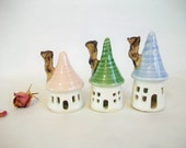 Fairy Houses -- Garden Fairy  Houses -  Set of 3 - Pastel Colors -- Ready to Ship