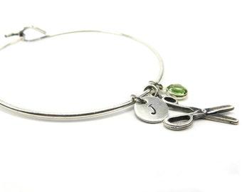 New Scissor Bangle Bracelet With Birthstone & Initial Charm- Personalized Bracelet