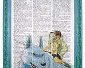 vintage dictionary art ink print 7.75x10.75 inches - princess mononoke riding wolf print dictionary page prints on dictionary paper