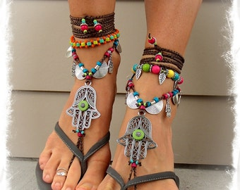Green Eye HAMSA hand BAREFOOT sandals Hand of Fatima tribal belly Dance foot jewelry Ethnic Wedding Hippie Boho womens body jewelry GPyoga