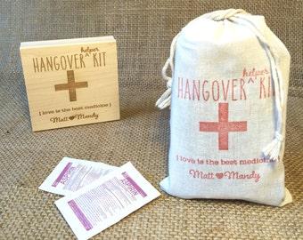 "Custom Stamp. Hangover Helper Kit. DIY Wedding Favor Stamp. ""Love is the Best Medicine."""