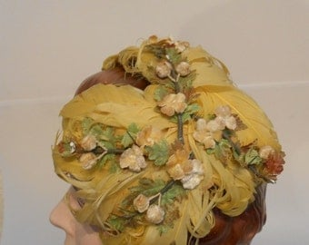 Wedding Party Arrives - Late 40s Early 50s Lemon Yellow Curled Feather & Floral Cookie Cutter Hat