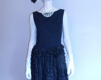 Classic Cocktail Hour - Vintage 1950s Black Rayon Flamenco Skirt Wiggle Dress - 4/6