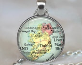 Ireland map pendant charm, Ireland necklace resin pendant, Ireland map jewelry Ireland pendant, Ireland key chain, Ireland keychain