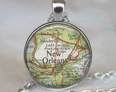 New Orleans map necklace, New Orleans map pendant, New Orleans necklace, New Orleans pendant, map jewelry, keychain key fob