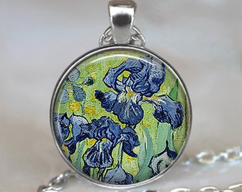 Van Gogh Irises pendant, iris pendant, iris jewelry, Van Gogh art pendant ,gardener's gift, Iris necklace, keychain key fob