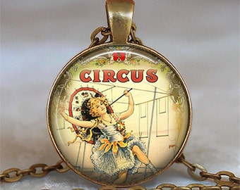 Steampunk Circus Girl necklace, Circus jewelry, Circus jewellery, Circus pendant, Circus keychain circus key chain key fob