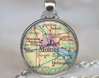 Des Moines, Iowa map pendant , Des Moines map necklace, Des Moines pendant, map jewelry, map keychain key chain