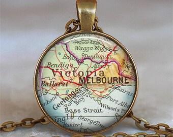 Melbourne map necklace, Melbourne map pendant, Melbourne necklace, Melbourne pendant, keychain key chain