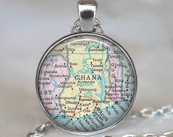 Ghana  map pendant, Ghana map necklace, map jewelry, Ghana pendant, adoption pendant Ghana necklace keychain key chain