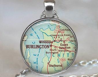 Burlington map necklace, Burlington map pendant, Burlington Vermont map necklace, map jewelry keychain key chain