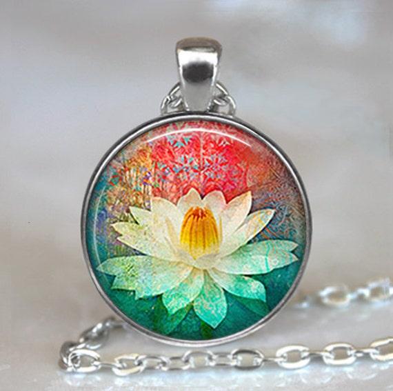 White Lotus pendant, Lotus flower necklace, Lotus necklace, Lotus jewelry, yoga pendant, yoga jewelry yoga keychain