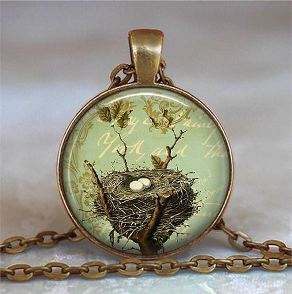 Bronze Bird's Nest pendant charm, bird's nest necklace, nature lover gift nesting bird jewelry, bird nest keychain key chain