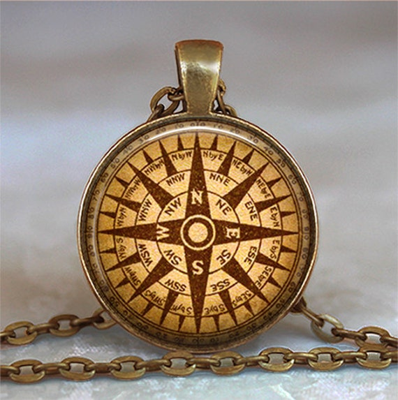 Steampunk Compass pendant, compass necklace steampunk necklace wind rose pendant compass keychain key chain
