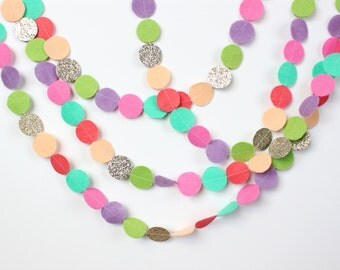 READY TO SHIP Felt and Glitter Circle Garland: blush, coral, julep, petal, lilac, chartreuse, mixed glitter