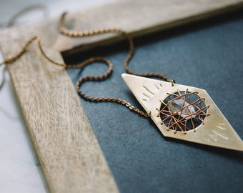 Crystal Cavern Necklace | Handcrafted Brass Tibetan Quartz Pendant | Modern Gypsy Style