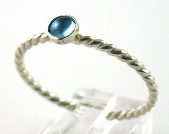 Swiss Blue Topaz Twisted Sterling Silver Stacking Ring