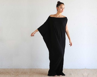 Black Kaftan Dress - Beach Kaftan - Maxi Dress - Boho Dress - Black Long Dress