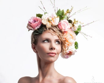 SS15 Floral Hair Accessories - Powder Pink Cream and Coral Pastel Peonies Rose Crown Flowers Pinks Headpiece Wedding Bridal Garden Summer