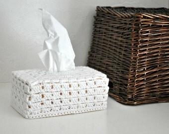 White Tissue Box Cover Nursery Decoration  Home Decor Bright White