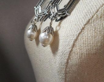 Art Deco Wedding Earrings - Great Gatsby Jewelry - Pearl Earrings - 1920s Jewelry - Downton Abbey Style Jewelry - Womens Jewelry
