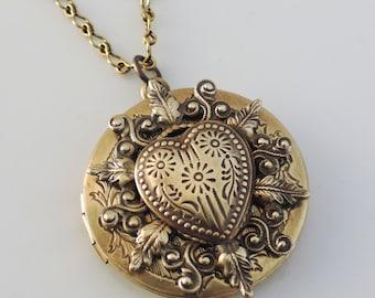 Locket Necklace - Vintage Necklace - Heart Locket - Heart Necklace - Vintage Brass Necklace - Handmade Jewelry