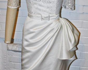 White Short Wedding Dress- Tiki Pinup Rockabilly Wiggle Pencil Skirt- Custom Made