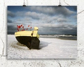 black fishing boat, nautical photography, seaside storm photo, 8x12 print, beach photo, ocean bathroom decor, dark blue, yellow fishing boat