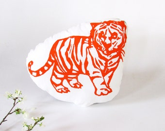 Plush Tiger Pillow. Hand Woodblock Printed. Choose ANY Color. Made to Order.
