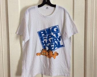 Vintage 1980s Garfield T-shirt size XL Character Big Fat Hairy Deal