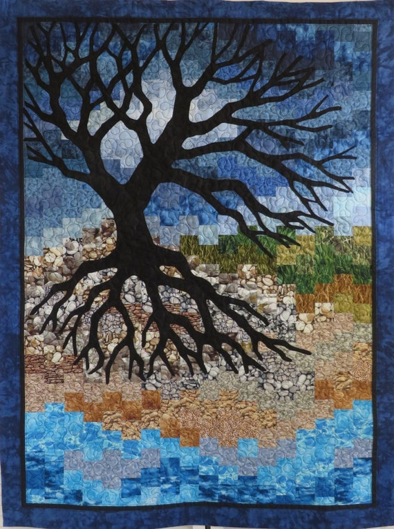 Handcrafted Landscape Art Quilt Wall Hanging November Skies