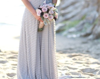 Ruffle Octopus Infinity Wrap Gown- Nantucket Grey with Ahoy Grey ~Vintage Wedding, Bridesmaids Dress