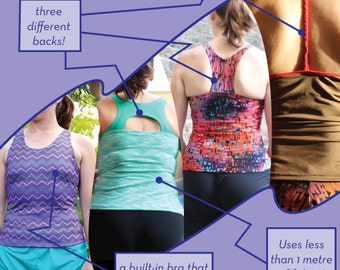 XYT Workout Top - PDF sewing pattern for exercise gear - built in bra and choice of three backs