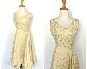 Vintage 50s  Dress - 50s party dress - gold brocade dress - alternative wedding - bridal - Small