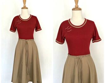 1970s Dress - full skirt dress - Toni Todd - nautical dress - two tone - midi -  resort wear - Small Medium