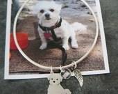 Custom Pet Portrait TaGette Bangle Bracelet .. Sterling Silver Dog silhouette Maltese Jewelry Memorialize Keepsake